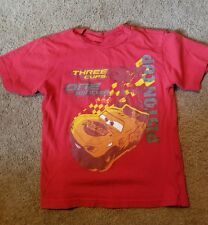 Disney store xs 4 red cars t shirt piston cup rusteze three cups one winner