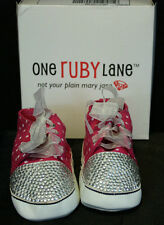 NIB ONE RUBY LANE HOT PINK DOTS SHOES 12 to 18 M New 12/18M