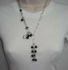"""Bold Black Onyx Gemstone Heart Rolo Link Necklace Chain Sterling Silver 925 24"""""""