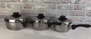 Fissler Stainless Steel Set Of 3 Handled Pans With Lids Good Pre Owned Condition