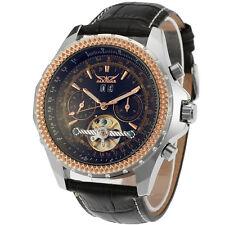JARAGAR Men Luxury Calendar Automatic Mechanical Leather Mens Tourbillon Watches