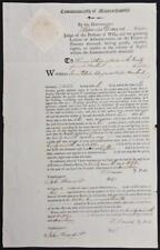 1817 Massachusetts Court Document Signed Thomas Dawes 1777 Harvard Graduate