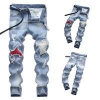Men Stylish Ripped Jeans Pants Slim Straight Frayed Skinny Denim Trousers LOVE