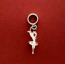 Ballerina Charm Sterling silver Solid 925 3d Fits European New Dance Ballet