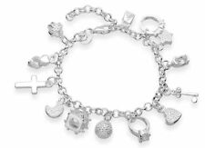 925 Sterling Silver Mixed Charm Pendants Bracelet Bangle Fashion Jewelry New