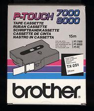 1x BROTHER TX-251 P-touch 24mm Banda de color NEGRO/BLANCO > PT-7000,PT-8000,