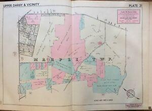 1942 DELAWARE CO PA MARPLE TWP PAXON HOLLOW GOLF COUNTRY CLUB KENT PK ATLAS MAP