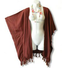 CB121 Brown Plus Size Cardigan Duster Jacket Kaftan Cover up - 2X, 3X, 4X & 5X
