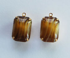 VINTAGE STRIPED COFFEE BROWN GLASS UNFOILED OCTAGON BEAD PENDANT 2 BEADS 13x18mm