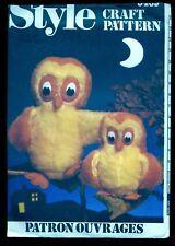 "UNCUT Vtg 1981 Stuffed OWL & OWLET TOY Doll MOM 12.5"" BABY 7"" Sewing Pattern"