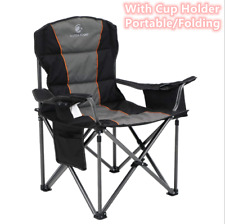 Camping Chair Heavy Duty Folding Chair With Cup Holder Oversize Outdoor Black US