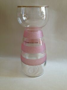Vintage Glass Hyacinth Bulb Vase - Pink Frosted with Gilt Banding