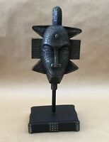 """Vintage Collectible Tribal Statue Figurine Bust Face Statue On Stand 11"""" Tall"""