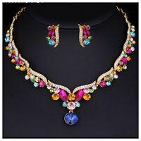 Wedding Bridal Multicolour Austrian Crystal Necklace Earring Jewellery Set