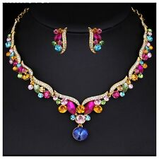 Wedding Bridal Multicolour Austrian Crystal Necklace Earring Jewellery Set