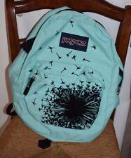"""JanSport TEAL Black Dandelion Flower Backpack 18"""""""