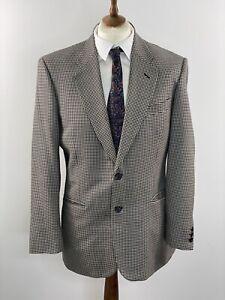 ST MICHAEL Black & White Dogtooth Wool & Silk Jacket Vintage 40R Houndstooth