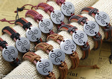 12x/lot  MusicTriskel Charm Bracelets Leather Wrap Bands For Men and Women