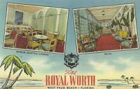 Hotel Royal Worth Interior West Palm Beach Florida 1930s Linen Postcard
