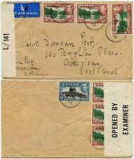 CEYLON EMPIRE CENSORSHIP WW2 AIRMAIL MULTI FRANKING to SCOTLAND 1942 DOLOSTOGO