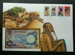 [SJ] Nigeria Hair Style 1988 Dresses Village Art FDC (banknote cover) *see scan