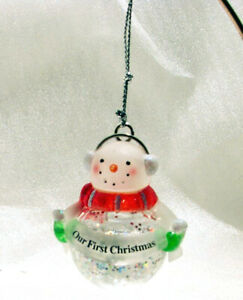 OUR FIRST CHRISTMAS Small SNOWMAN Snowglobe Christmas Ornament