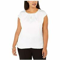 MSRP $69 Kasper Sleeveless Keyhole Blouse Wear to Work Size 3X (Small Stains)