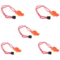 5 Pieces Marine Safety Whistle Boating Camping Hiking Emergency with Lanyard