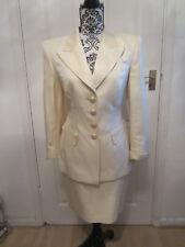 Escada Designer skirt & jacket suit size 12-14 (40) ivory beige silk blend class