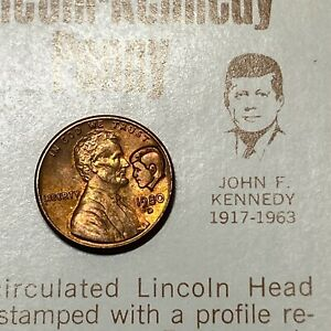 Lincoln-Kennedy Penny Uncirculated 1980 Card Stock Mounted First Wyoming Bank