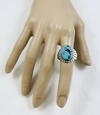 Men's Ring Size 11 3/4 Native American Sterling Silver Turquoise