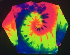 New Tie Dye Rainbow Multi Color Long Sleeve Crewneck Sweatshirt Unisex Size XL