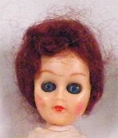 Vintage Hard Plastic Doll in Green & White Dress & Apron Auburn Hair Adorable
