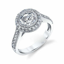 1.60ct Vintage Halo Diamond Engagement Ring 14k White Gold