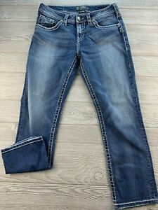 *Silver Stretch Denim Jeans. Distressed Medium Wash, Size 29.