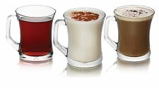 Set of 6 Tea Coffee Cappuccino Hot Drink Glasses Cups Glass Mugs