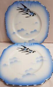 Vintage Schmidt &Co Czech Victoria China Blue Bird Side Plates x 2 c1927-45
