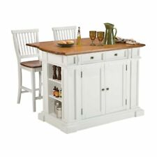 Home Styles Large Kitchen Island Set with 2 Stationary Stools - Antique & Oak,