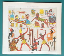 EGYPT Costumes Kings Slaughter Enemies Chariots - COLOR Litho Print A. Racinet