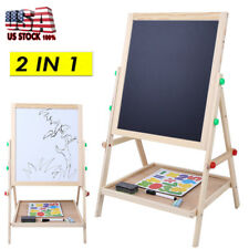 Kids Easel Art Children Whiteboard Blackboard Stand Wooden Chalk Drawing Board