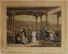 VENDITA SCHIAVI ALGERI Bazaar Slaves Algiers Incisione Originale 1800 Orientale