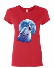 Call of the Wild Women's T-Shirt Lone Wolf Howling at the Moon Wildlife Shirt