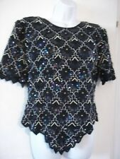 VTG LAURENCE KAZAR Women's XL Black 100% Silk Sequin Blouse Top Silver Beads EUC