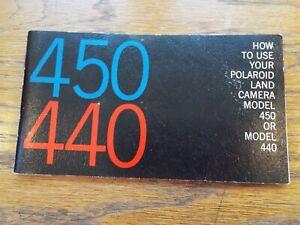 Vintage POLAROID 450/440 Land Camera Model Owner's Manual Users Guide Brochure