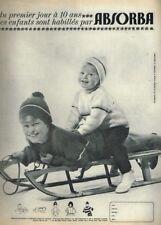 E- Publicité Advertising 1964 Les vetements pour enfants Absorba ... luge ski