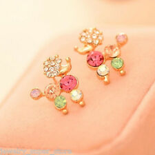 Fashion Women Colorful Crystal Rhinestone Poodle Earrings Ear Stud Cute Jewelry