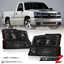 2003-2006 Chevy Silverado [4PC SMOKE] Signal Bumper Head Light Lamp COMPLETE KIT