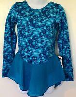 GK BLUE SPLASH CHILD SMALL LgSLV HOLOGRAM PRINT POLY/SPANDEX ICE SKATE DRESS CS