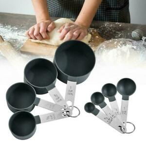 4PC Steel Measuring Cups Spoons Kitchen Baking Set Cooking Tools F7P0