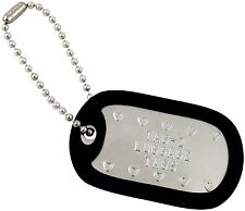 2 Personalized Luggage Tags Custom Embossed - Chain & Silencer - Military ID Dog